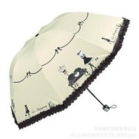 Free Shipping 2014 new treasure Clear vinyl skirts creative umbrella folding umbrellas UV
