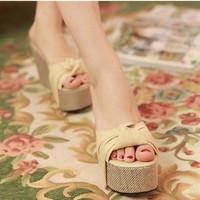Platform Wedges Heel High-heeled Slippers Fashion Sandals for Women Sandals 2014 Summer Women Summer Shoes Sweet Free Shipping