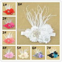 brand new DIY16pcs satin rosettes flower Headband pink tulle Flower feather Headband Infant Baby Girls Children hair accessories