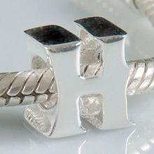 1PCS/lot diy alphabet H Charm Beads 925 sterling silver jewelry Fits European Pandora Style Bracelets