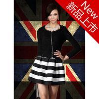 2014 women shorts Plus size all-match fashion black and white midi skirts high waist striped short skirt saias femininas