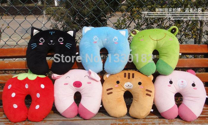 Grande em forma de U travesseiro de pescoço criativa dos desenhos animados rosa do coelho travesseiro de 8 modelos(China (Mainland))