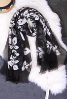 2014 new winter leaf pattern silk scarves silk yarn Xili oversized fringed shawl Europe and America