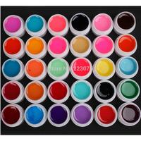 Free Shipping DIY New 30 PCS Mix Colors Glass UV Builder Gel Acrylic Nail Art Set for Nail Art Tip