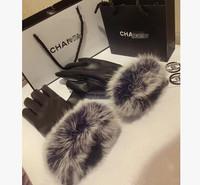 New 2014 top brand design high quality genuine natural Rabbit fur fashion short women's leather gloves winter thickening gloves