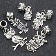New MIC 150pcs 5-Styles Antique Silver Cute Owl Dangles Charms Beads Fit European Bracelets