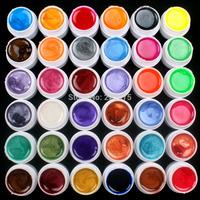 Free Shipping DIY 36 PCS Mix Colors Pearl UV Builder Gel Acrylic Nail Art Set for Nail Tips