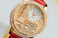 2014 Women rhinestone watches Gogoey Brand Luxury Crystal The Eiffel Tower Watch Women Ladies Fashion Dress Quartz Wristwatches