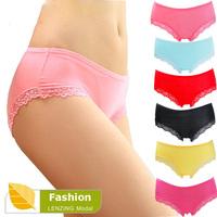 (5Pcs/Lot) 100% Quality Women's Underwear Bamboo Fiber Women Panties Sexy Lace Ladies lingerie Briefs Free Shipping #356t