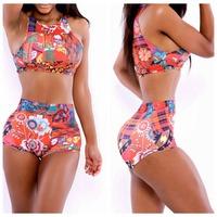 Pretty Pinup Triangl Plus Size Swimwear Print Biquini Sexy Vintage Bikini Swimwear Women Bathing Suit High Waist Bikini Set