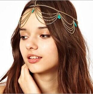 Hot Sale 2014 New Arrival Bohemian fringed turquoise ribbon headdress Trendy women hairwear series(China (Mainland))