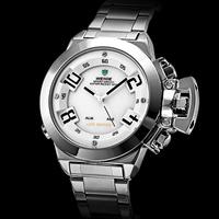 Men's Luxury Style Steel Digital-Analog LED-Quartz Multi-movement Wrist Watch (2 Time Zone, Assorted Colors)