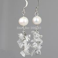 White crystal tassel earrings fashion vintage bohemia crystal jewelry accessories female