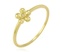 DIY pure 14k yellow gold ring can lettering small flower five leaves  birthday engagement gift free shipping