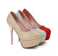 2014 Spring Autumn Fashion Glitter High Heel Women Wedding Shoes Ladies Platform Pumps Plus Size LX10163