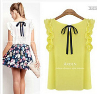 Hot Sale  New 2014 Women's O Neck Lotus Leaf Pullover Lace Bow Chiffon Shirt Tops Summer Women's Blouse Plus Size 2 Colors