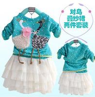 Long Sleeve Baby Girls Cartoon T-shirt Girl's Lace Tutu Skirt Cartoon Swans Kids Coat Cotton Baby Clothing Set Free Shipping