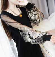 New 2014 Women Summer Dress High Quality  Women Long Sleeve Lantern sleeve Embroidery Net Patchwork Chiffon Dress Free Shipping