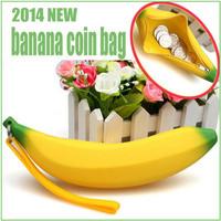 Free Shipping 2014 Fashion Women Silicone Coin Purse Cute Banana Silicone Coin bag Mini Coin Wallet