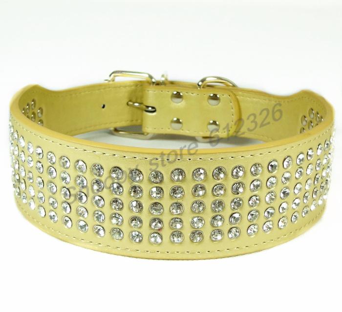 100% handmade real leather Pet Dog Collar New 5 Row Rhinestone,adjustment diamonds Clear Crystals symbol of royal,distinguished(China (Mainland))