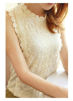 Free shipping 2014 Summer Girls slim sleeveless lace crotch basic Shirt women's all-match Vest Lady's Sweet Blouses