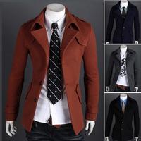 2014 men's clothing black overcoat male casual woolen single breasted outerwear epaulette