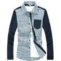 2014 new Autumn Men's Slim fit Unique Brushed plaid Splice long Sleeve Shirts Men mixed colors Placket shirts  M-XXL,842