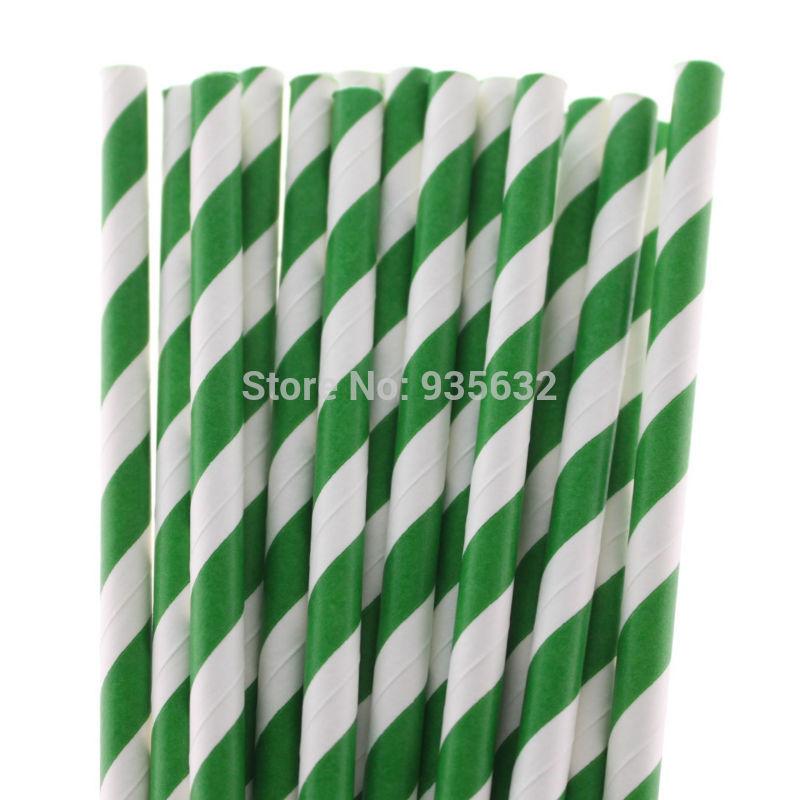 Green Striped Paper Straws Straws Deep Green Striped