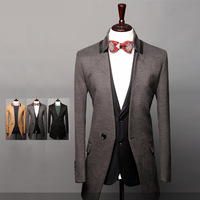 2014 three-dimensional cut leather fashionable casual all-match medium-long woolen outerwear overcoat