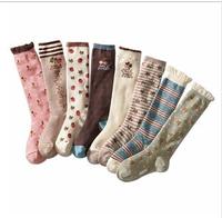 free shipping 2014 autumn winter 8pair/lot cotton children socks kids knee-high socks girls socks.