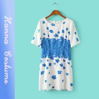 2014 summer cute printed chiffon dresses women clothes new arrival short sleeve slim dress for woman vestido
