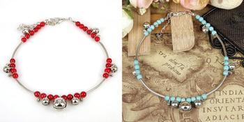 2 цветов женская леди тибетский ленты красный и синий бусины кулон ножной браслет ...