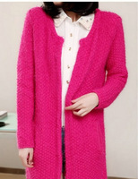 New 2014 Spring And Autumn New Korean Cardigan Jacket Long Section Loose Solid Thick Coat Women Free Shipping