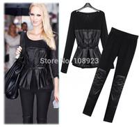 FreeShipping2014Spring Autumn European Clothing set Fashion Gauze Long Sleeve Leather Patchwork blouses+Slim Pants Casual Suits