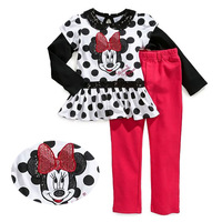 Wholesale girl long sleeve suit,hot sale minnie baby girl sets,cartoon girl clothing,fashion children sets