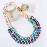 Punk Style Multilayer Geometry Necklace Gold Color Collar  Necklace Free Shipping