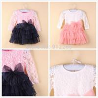 2014 new girls tutu lace dress childrens long dance dresses kids clothes bow cute cheap clothings long sleeve,14FEB29-LQ-1