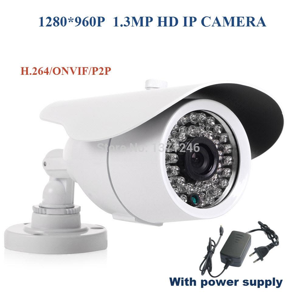 HD 960P 1.3 Megapixel H.264 Night Vision IP Camera 1.3MP CMOS ONVIF CCTV Security Surveillance Web cam with power supply(China (Mainland))