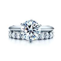 1.7 Carat Genuine Moissanite Engagement Rings Women14K White Gold Moissanite Ring with Excellent Band Ring