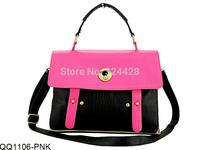 4 Colors Free Shipping 2014 Women Handbags Leopard Print Colour Block Satchel Messenger Bag Fashion Shoulder Bags QQ1106