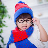 2014 winter unisex double layer jacquard kids warm hat scarf set