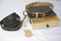 designer dog pu leash + collar  2pc set classic print puppy pets lead high quality leather coffee