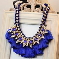 Europe and the United States exaggerated gem fringe short necklace Free Shipping