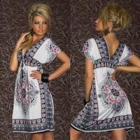Hot sale 2014 Fashion Retro Vintage Paisley Print V Neck Hippie Boho Summer Dress Women Beach Dress Free shipping