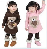 Retail 2014 autumn winter new arrival girls cartoon bear hoodies children warm Sweatshirts 672