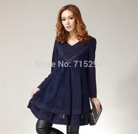 2014 new arriving fashion women big size plus size women dress spring winter dress V neck long sleeves one-piece dress XXXL