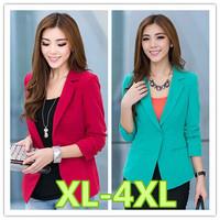 XL-4XL size blazer women 2014 new women slim wine red green color plus size blazers free shipping