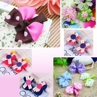 20pcs/lot  Free Shipping 2014 Hot Korean Mix Color Handmade Flower & Bowknot Baby Hair Clips For Girls Children Hair Accessories