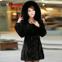 2014 marten fur coat overcoat women's slim full Flare Sleeve Covered Button long design mink fur with hooded