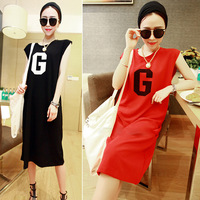 New 2014 summer fashion Dress loose casual one-piece dress full dress Printing dress in stock free shipping